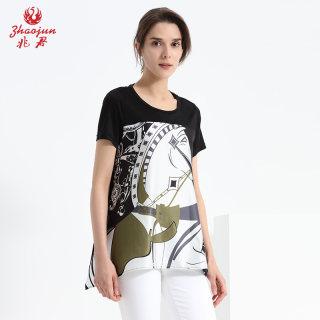 2019春夏新品圆领短袖桑蚕丝女T恤 抽象个性印花真丝宽松上衣