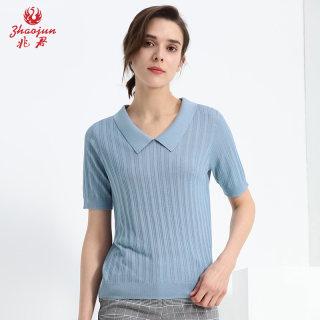 2019年春夏新款桑蚕丝薄款翻领短袖简约直筒套头T恤衫女