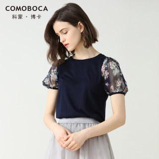2019春夏新款T恤女圆领泡泡袖复古印花套衫文艺短袖上衣