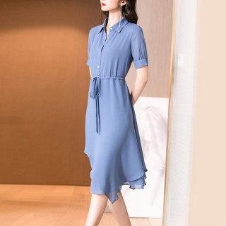 2019夏季新款时尚气质蓝色系带收腰显瘦短袖衬衫连衣裙女