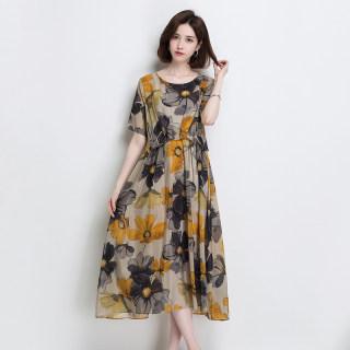 真丝连衣裙2019春夏新款气质宽松复古印花短袖中长款桑蚕丝裙子女