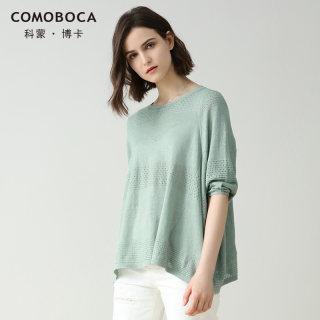 2019春夏新品亚麻T恤圆领纯色蝙蝠袖简约条纹宽松针织衫