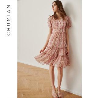 樱花粉交复式V领茶歇裙少女感泡泡袖雪纺裙