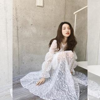 重工刺绣连衣裙女2019春季新款甜美灯笼袖中长款A字型裙子
