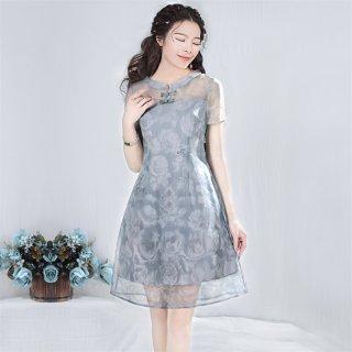 2019夏新品女装复古修身欧根纱短袖中长款连衣裙 轻衣