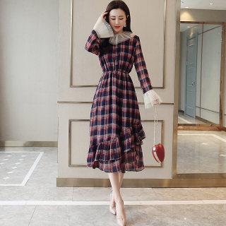 2019年夏新品优雅圆领拼接欧根纱长袖收腰撞色格子气质夏季连衣裙