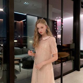 法式复古连衣裙女2019新款夏季短袖学院风裙子性感吊带裙潮