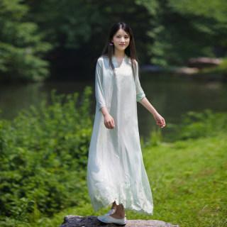 2019夏中腰套头宽松刺绣连衣裙 文艺休闲V领七分袖欧根纱连衣裙