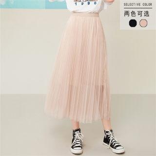 超火的半身裙2019夏装新款女装百褶网纱裙百搭中长裙仙女裙子