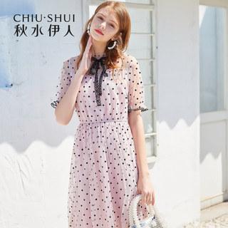 波点连衣裙2019夏新款女装简约法式蕾丝网纱很仙的裙子女