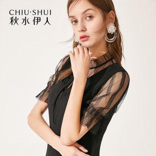 连衣裙2019夏装新款女装网纱拼接纯色短袖雪纺连衣裙