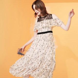 夏季新款网纱荷叶边中长款裙子修身显瘦韩版女装碎花连衣裙子