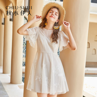 裙子2019夏装新款女装荷叶袖短袖复古网纱修身连衣裙女