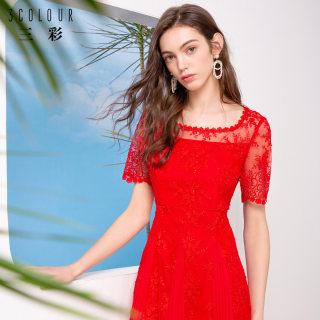 2019夏季新款优雅刺绣新娘网纱伴娘晚礼服修身很仙的连衣裙女