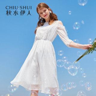 连衣裙2019夏新款女装复古风露肩修身显瘦中长款雪纺裙