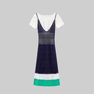 2019夏季女装简约修身吊带长款两件式连衣裙