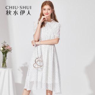 秋连衣裙2019夏新款女装印花娃娃领短袖松紧腰连衣裙