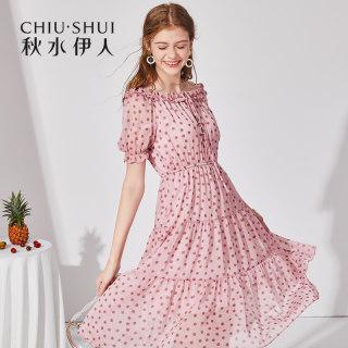 连衣裙2019夏新款女装波点一字领短袖修身中长裙子