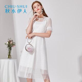 人连衣裙2019夏新款女装简约纯色网纱很仙的法国小众裙子女