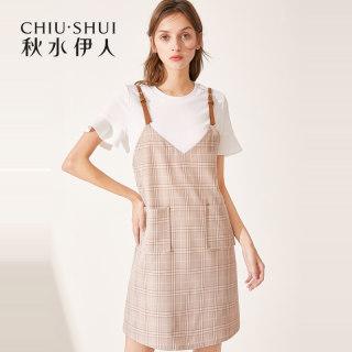 连衣裙2019夏装新款女装简约复古吊带淑女两件套裙子女