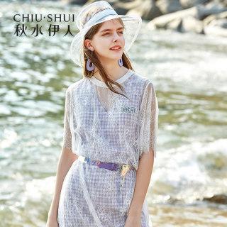 连衣裙2019夏装新款女装短袖网纱很仙的法国小众套装裙
