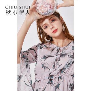 连衣裙2019夏装新款女装印花气质喇叭袖修身显瘦裙子女