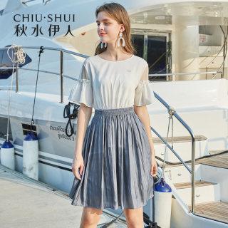 连衣裙2019夏新款女装简约很仙荷叶袖洋气拼接A字裙女