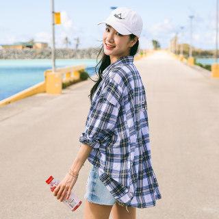 春夏新款格子衬衫女宽松韩版中长款衬衣
