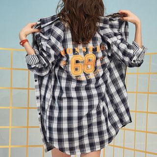 格印花格子衬衫女宽松韩版休闲学院风中长款衬衣上衣