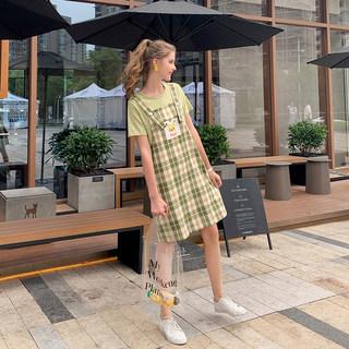 【格子背带 时尚休闲】皮卡丘联名款韩版休闲格子背带裙