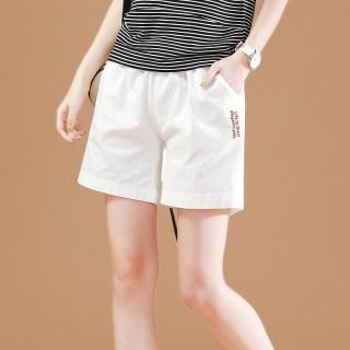 【 白色短裤】韩版松紧腰白色休闲短裤女宽松
