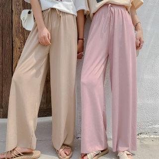 【清凉显瘦 多款多色】夏季女高腰垂感冰丝雪纺宽松百搭阔腿裤