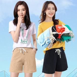 夏装新品棉麻休闲阔腿女短裤
