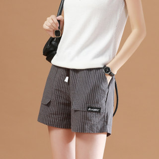 【超级爆款】复古文艺条纹休闲短裤女宽松百搭
