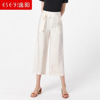 2019夏季新款九分冰丝时尚宽松休闲裤透气面料八分天丝阔腿裤