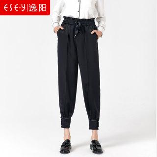 女裤2019春秋新款抽绳松紧腰显瘦束脚哈伦裤子女宽松休闲裤潮