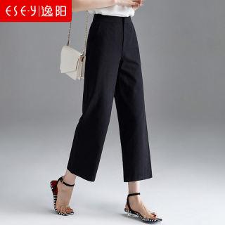 2019夏季黑色休闲阔腿裤宽直筒裤女