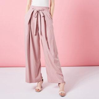 2019春季新高腰宽松阔腿裤休闲长裤直筒修身粉色裤子女