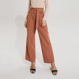时尚优雅纯色直筒休闲长裤