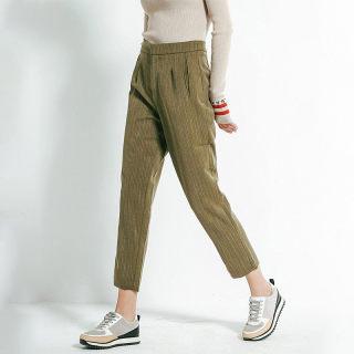 l时尚竹节纹萝卜哈伦九分休闲裤