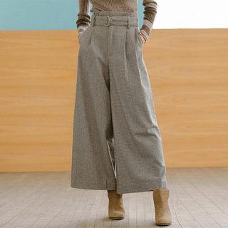 时尚宽松阔腿裤配腰带休闲长裤