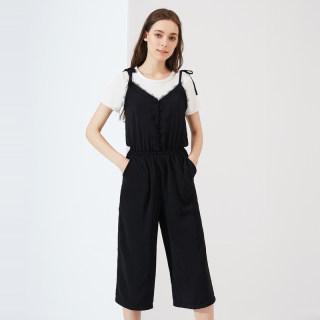 2019夏装新款女装圆领T恤连体裤松紧腰裤子休闲裤