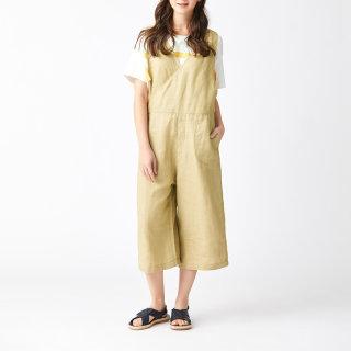 夏装新款 棉麻提花休闲背带裤