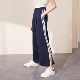 休闲裤2019夏季新款ins潮侧边撞色织带开叉阔腿裤长裤