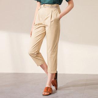直筒夏季2019工装裤显瘦阔腿裤女高腰垂感九分裤女小脚裤