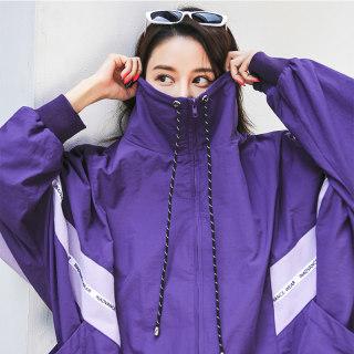 紫色外套2019春韩版宽松短款韩版嘻哈bf风棒球服