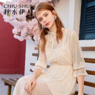 连衣裙2019夏新款女装简约蕾丝花边很仙的法国小众裙子女