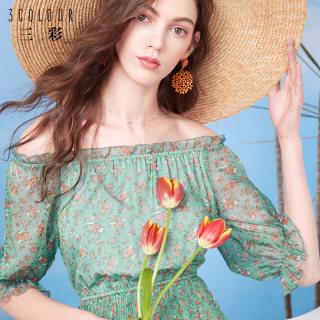 2019夏季新款一字领露肩灯笼袖蕾丝拼接中袖雪纺连衣裙女