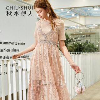 连衣裙2019夏新款女装简约两件套吊带蕾丝很仙的裙子女