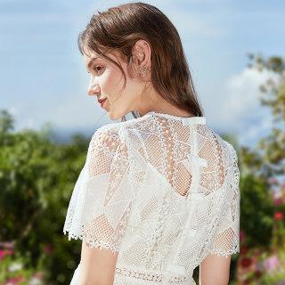 2019夏季新款蕾丝裙很仙的法国小众桔梗短袖假两件连衣裙女